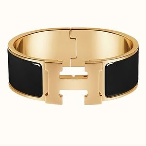 Auth Hermes wide Clic Clac H bracelet gold plated